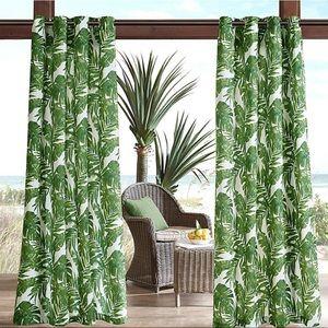Palm Leaf Print Curtain Panels